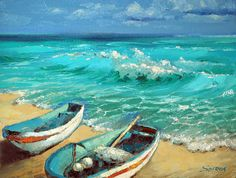 Caribbean Noon PALETTE KNIFE Oil Painting On Canvas by spirosart