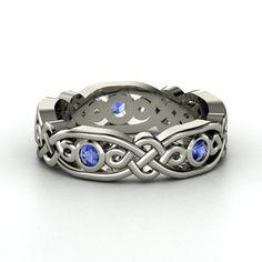 14K White Gold Ring with Sapphire | Brilliant Alhambra Band | Gemvara