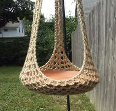 Plant Hanger/Bird Feeder Indoor Outdoor Crochet - Jute or Any Color Of Your Choosing by CraftCoalition on Etsy https://www.etsy.com/listing/161782599/plant-hangerbird-feeder-indoor-outdoor