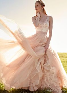 Blush Pink Wedding Dress With Detachable Skirt V Neck With Beading Appliques A Line Bridal Gowns Removable Tulle 2015 Bride Wear Gardenia Wedding Dress A Line Wedding Dress Sales From Gardeniadh, $300.63| Dhgate.Com