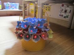 Shavuot Flowers from egg cartons, skewers and red model magic