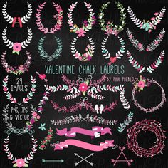 Our Valentine's Day or Wedding Chalkboard Laurel Clipart includes 29 PNG files with transparent backgrounds and 1 Adobe Illustrator vector file with 29 images. The PNGs are 300dpi and