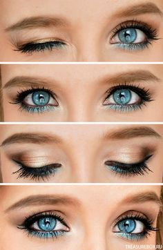 Eye Makeup Tips.Smokey Eye Makeup Tips - For a Catchy and Impressive Look Blue Eye Makeup, Skin Makeup, Blue Eyeshadow, Summer Eye Makeup, Makeup Eyeshadow, Makeup Needs, Makeup Looks, All Things Beauty, Beauty Make Up