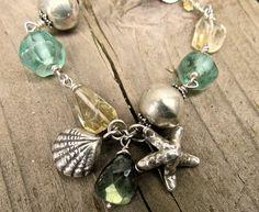 Handmade Beach Inspired Jewelry wire work silver sea charm bracelet