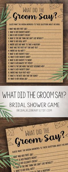 What Did The Groom Say . Bridal Shower Games . Bridal Shower Games Printable . Wedding Shower Game . Bridal Shower Games Instant Download
