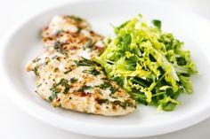 Garlic and mint chicken with crunchy cos salad