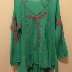 Turquoise and pink shirt A turquoise shirt worn once Tops