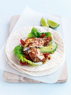 lemon and chilli fish burrito with avocado