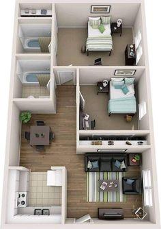 2 Bedroom House Design, House Floor Design, Sims House Design, Home Design Floor Plans, Home Building Design, Small House Layout, Modern Small House Design, House Layout Plans, Small House Plans