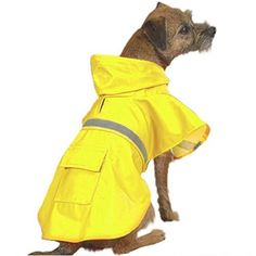 "OCSOSO Pet Dog Slicker Raincoat Gear Brite Rain Jackets Dog Cat Hooded with Reflective Band (Yellow, L Back: 20""(50cm)) >>> Click on the image for additional details."
