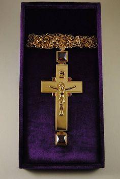 Orthodox Cross Gold Plated Pendant Zircon Enamel Clergy Bishop