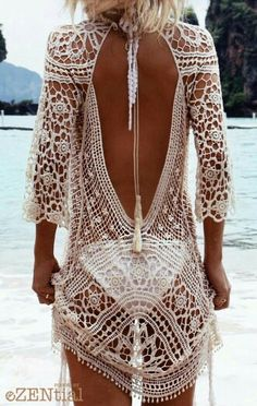 Crochet top Chicnico Keep Secrets Sexy Handmade Openwork Solid Color Dress $33.99