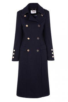Wallis Navy Longline Double Breasted Coat, £130