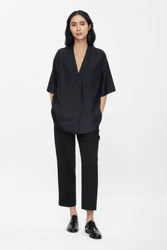 COS | Lapel v-neck silk top