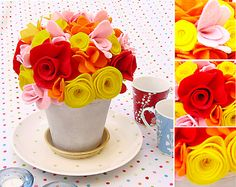 felt flower bouquet - what a gorgeous way to set tables for parties... makes a great take-away!