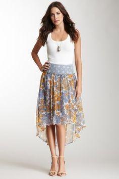 HauteLook   Bottoms: Blue Tassel Printed Hi-Lo Silk Skirt