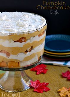 Never worry about what to serve a large group of houseguests for dessert again with this easy-to-make pumpkin cheesecake trifle recipe.