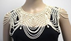 Vintage Couture Victorian Style HUGE Faux Pearl Beaded Collared Chest Necklace