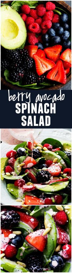 This Spinach Berry Avocado Salad will be one of the BEST salads that you make! And the creamy raspberry poppyseed dressing on top is AMAZING!