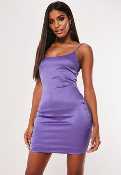 a mini dress in a bodycon fit featuring purple stretch satin fabric and adjustable straps with zip fastening at the back. regular fit Mini - Sits mid thigh Polyester Noara wears a UK size 8 / EU size 36 / US size 4 and her height is Purple Bodycon Dresses, Satin Bodycon Dress, Purple Mini Dresses, Satin Mini Dress, Tight Dresses, Satin Dresses, Women's Dresses, Fitted Dresses, Bandage Dresses