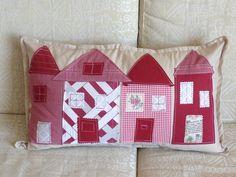long cushion with monochromatic house scene