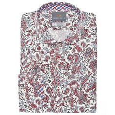 Big & Tall Red Paisley Print Button Down Sport Shirt - Thomas Dean & Co
