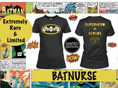 Check this out! Rare Batnurse superhero in scrubs nurse t-shirt