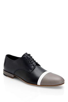 Striped Leather Lace-Up 'Tammio' Dress Shoe by HUGO