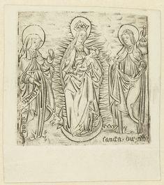 Anonymous | Madonna met heilige Anna en Brigitta, Anonymous, 1470 - 1490 | De Maagd gekroond en op een maansikkel staande, het Christuskind in de armen. Aan haar rechterhand de heilige Anna, aan haar linkerhand de heilige Brigitta.