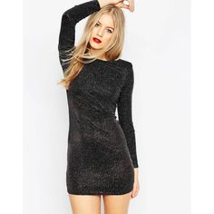 ASOS Shoulder Pad Glitter Mini Body-Conscious Dress ($48) ❤ liked on Polyvore featuring dresses, black, glitter dress, scoop back dress, asos dresses, bodycon mini dress and body con dress