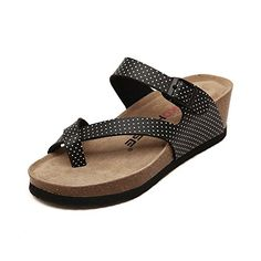 Womens Casual Buckle Straps Sandals Platform Cork Shoes 7 Black Dot ** You can find out more details at the link of the image.(This is an Amazon affiliate link and I receive a commission for the sales)