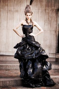 Dress out of garbage bags!
