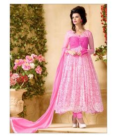a05cf77d924 Net   Brasso Machine Work Pink Semi Stitched Long Anarkali Suit - 5802 at  Rs 1049
