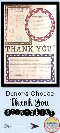 Have a Donors Choose Thank You Package that you need to finish? This is the file for you! Includes two different templates of thank you notes in three different levels! Six templates in all!! This file also includes a thank you banner for you to use to take your pictures!