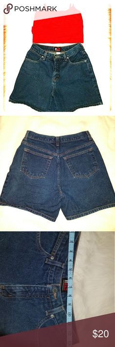 90s Style NY&C Jean Shorts High quality denim high waisted shorts by New York & Company (tagged American apparel for exposure!) All measurements included. Dark wash denim, four pockets, look great rolled up or by themselves. Paired with a red tight crop top, comes free with shorts if bundled with something else! Price firm. American Apparel Shorts Jean Shorts