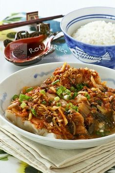 Steamed Cod with Kimchi - healthy, moist, and delicious. The kimchi combines beautifully with the cod to give it a slightly spicy and tangy flavor. | Roti n Rice