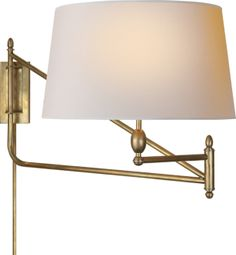"""PAULO BRACKET LIGHT from Circa Lighting. $630 in hand-rubbed antique brass with natural paper shade. 18""""h x 18""""w. Extends 30""""-51"""". 150w max bulb. Shade is 15 x 17 1/2 x 10. Designed by Thomas O'Brien."""