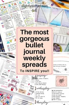 There's lots of inspiration for your bullet journal weekly spreads here! Some lovely ideas from minimalistic bullet journals through to arty and intricate. I love these ideas and will definitely be trying out a few of them for my own bullet journal weekly Digital Bullet Journal, Bullet Journal How To Start A, Bullet Journal Spread, Bullet Journal Inspo, Bullet Journal Ideas Pages, Bullet Journal Layout, Journal Prompts, Art Journals, Bullet Journals
