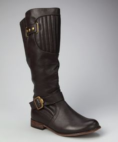 Take a look at this Coffee Double Buckle Knee-High Boot by Jacobies Footwear on #zulily today!