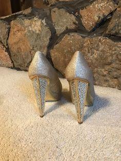 BeBe champagne peep toe heels