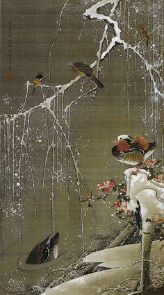 伊藤若冲 Ito Jakuchu/動植綵絵 Doshoku Sai-e(Colorful Realm of Living Beings)03-雪中鴛鴦図 Setchu En-o-zu (Mandarin Ducks in Snow)