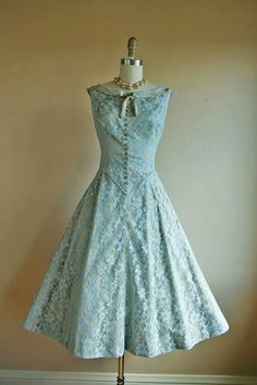 A lovely blue lace dress. #1950s #fashion. I want to wear this so badly!