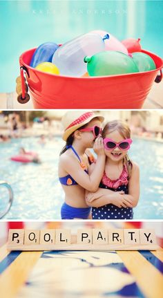 Most darling pool party ever!  @Lana Nelson-Hinchey, We've gotta get the girls in their suits to take pics like this!