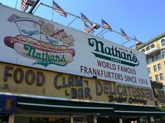 Nathan's hot dogs on the Coney Island boardwalk in Brooklyn, N.Y... something amazing about a place that has been there for so long