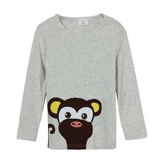Sale 30% (8.99$) - 2015 New Little Maven Lovely Monkey Baby Children Boy Cotton Long Sleeve Top