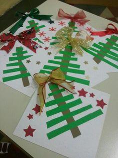 Kids Crafts Easy Christmas - Christmas DIY Crafts for kids. Ribbon On Christmas Tree, Christmas Tree Crafts, Noel Christmas, Christmas Projects, Holiday Crafts, Simple Christmas, Christmas Decorations, Homemade Christmas Crafts, Preschool Christmas Crafts