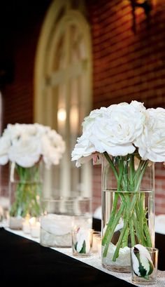simple, elegant, beautiful and affordable wedding reception table decor. Roses.