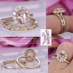 Oval Morganite Engagement Ring Bridal Sets Moissanite Halo 14K Gold 6x8mm