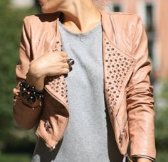 pink studded biker jacket