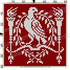 Gallery.ru / Фото #88 - Le Filet Ancien au Point de Reprise VI - gabbach Cross Stitch Bird, Simple Cross Stitch, Cross Stitch Flowers, Cross Stitch Designs, Cross Stitch Embroidery, Cross Stitch Patterns, Filet Crochet, Diy Crochet, Crochet Tablecloth Pattern